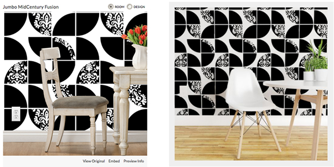 Spoonflower wallpaper mock-ups